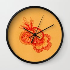 Red Arabesque Wall Clock