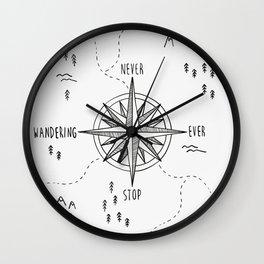 Never Stop Wandering Wall Clock