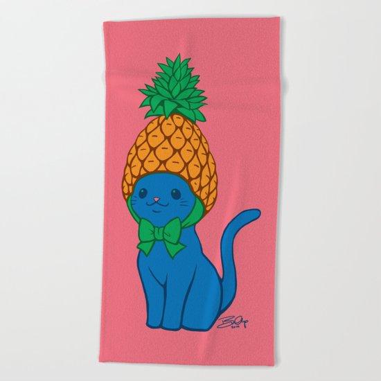 Blue Cat Wears Pineapple Hat Beach Towel