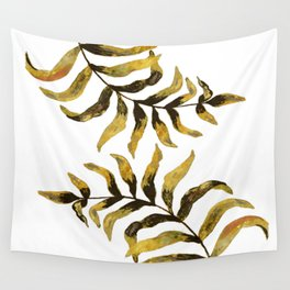 Gold Exotic Palm Leaves - Tropical Design Wall Tapestry