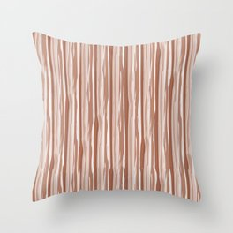 Cavern Clay SW 7701 Vertical Grunge Abstract Line Pattern on Pure White Throw Pillow