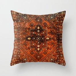 N151 - Orange Oriental Vintage Traditional Moroccan Style Artwork Throw Pillow