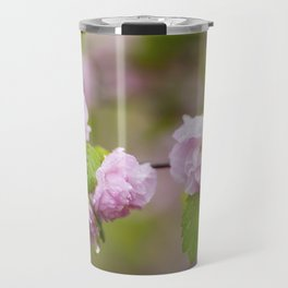 Close Up of Raindrops on a Dwarf Flowering Almond Bush Travel Mug