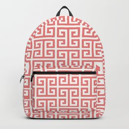 Coral and White Greek Key Pattern Backpack