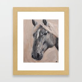 gray horse Framed Art Print