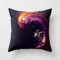 motivational Throw Pillows featuring Space Surfing by nicebleed