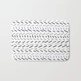 Modern black white hand drawn brushstrokes pattern Bath Mat