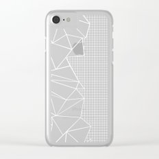 Abstract Grid Outline White on Black on Side Clear iPhone Case