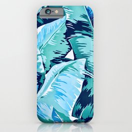 Banana leaf grandeur - aqua iPhone Case