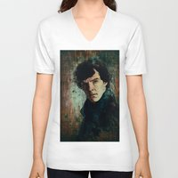 sherlock V-neck T-shirts featuring Sherlock by Sirenphotos