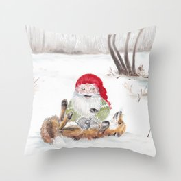 The gnome and his friend the fox - Christmas Throw Pillow