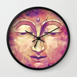 Trippy Buddha Face Painting in pink and orange for girls Wall Clock