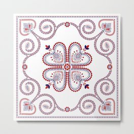 Portuguese Folk Pattern – Viana do Castelo embroidery Metal Print