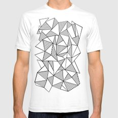 Abstraction Lines Black on White White Mens Fitted Tee SMALL