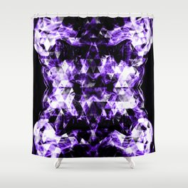 Electrifying ultra violet purple sparkly triangle flames Shower Curtain