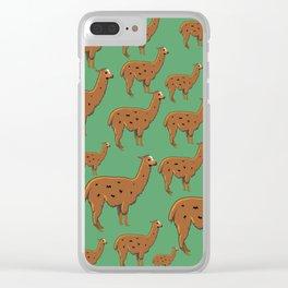 Llama Green Clear iPhone Case