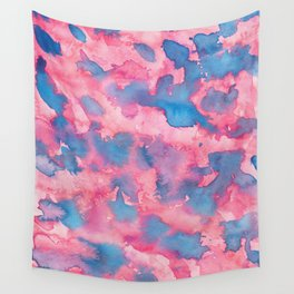 Pink and Blue Abstract Watercolour Painting Wall Tapestry