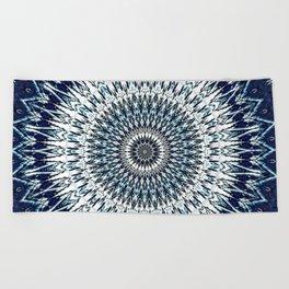 Indigo Navy White Mandala Design Beach Towel