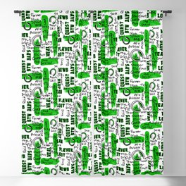 Gamer Lingo-White and Green Blackout Curtain