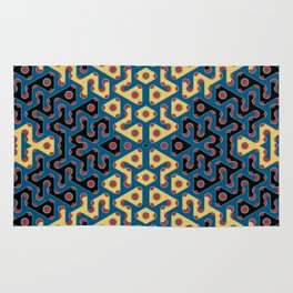Squiggle Trails Most Awesome Yellow Red Blue and Black Rug