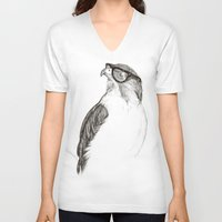 animals V-neck T-shirts featuring Hawk with Poor Eyesight by Phil Jones