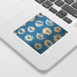 Metallic Gold Lips in Orange Sherbet and Saltwater Taffy Teal Shimmer Sticker