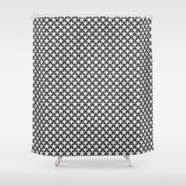 Phillip Gallant Media Design - Black Star Cirles on White Shower Curtain