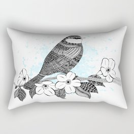 Bird and cherry blossoms Rectangular Pillow