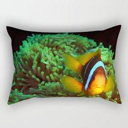 Anemone Fish in Green Anemone Rectangular Pillow