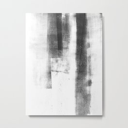 "Black and White Minimalist Geometric Abstract Painting ""Structure"" Metal Print"