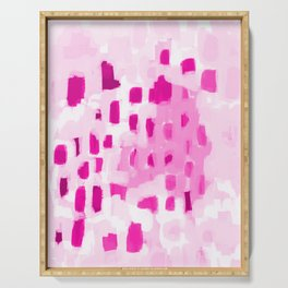 Zimta - pink abstract painting dots mark making canvas art decor Serving Tray