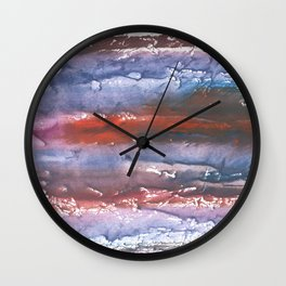 Brown Blue colored watercolor Wall Clock