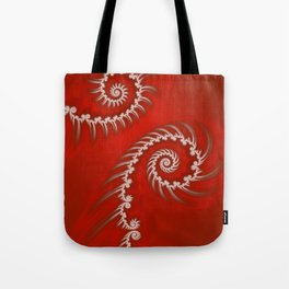 Red and White Striped Swirl - Fractal Art Tote Bag