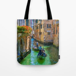 Classical picture of the venetian canals with gondola. Tote Bag