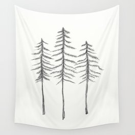 Pine Trees Pen and Ink Illustration Wall Tapestry