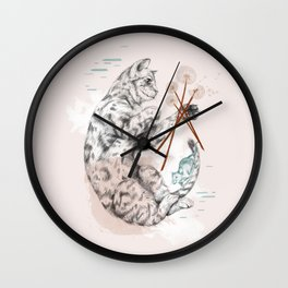 Cat and Dandelion Wall Clock