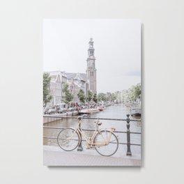 Orange Bike at the Canals   Westerchurch   Amsterdam The Netherlands   Travel photography print   Street Photo art Metal Print