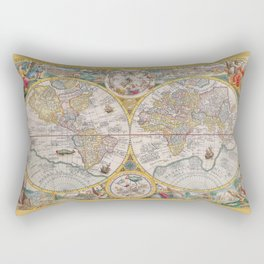 Old Map of the World from 1594 Rectangular Pillow