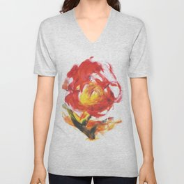 Abstract Fire Flower Acrylic Drawing Unisex V-Neck