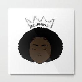 Melanin Crown - Girl 1 - Digital Illustration - Afro Metal Print