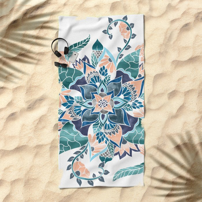Modern coral blue watercolor floral illustration  Beach Towel