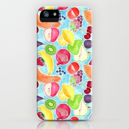 Fruit Salad in Watercolors on Bright Blue Background iPhone Case