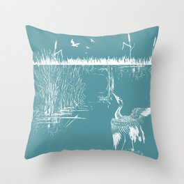 Orienal Exotic Heron & Birds on a Lake Print - Blue Throw Pillow
