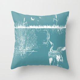 Orienal Exotic Heron & Birds on a Lake Print - Blue Throw Pillow