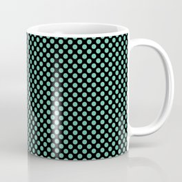 Black and Spearmint Polka Dots Coffee Mug