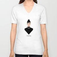 audrey V-neck T-shirts featuring Audrey by ravynka
