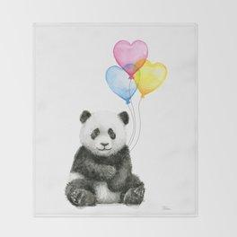 Panda Baby with Heart-Shaped Balloons Whimsical Animals Nursery Decor Throw Blanket