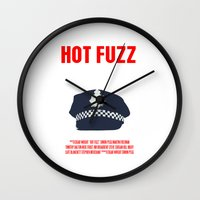 movie poster Wall Clocks featuring Hot Fuzz Movie Poster by FunnyFaceArt