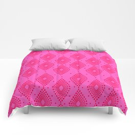 Mudcloth Dotty Diamonds in Neon Pink + Red Comforters