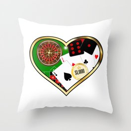 Love Gambling Throw Pillow